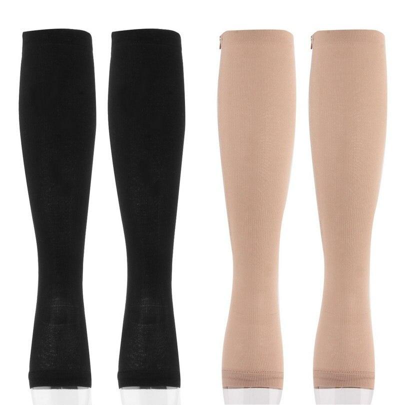 HTB1ZVohxb9YBuNjy0Fgq6AxcXXaX - Unisex Open Toe Compression Socks Knee Length Zipper