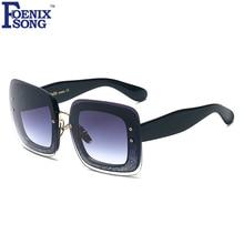 FOENIXSONG Señoras Diseñador de la Marca Gafas de Sol Cuadradas Mujeres Leopardo Negro Marco Grande gafas de Sol Gafas de Sol Mujer Oculos Feminino