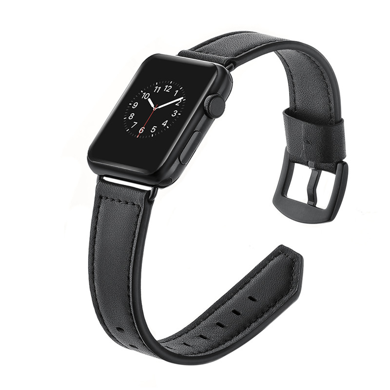 Classic Genuine Leather Watchband For Apple Watch Bands 38mm 42mm Metal Buckle Replacement Band Wrist Strap For iWatch Series123 genuine leather classic buckle watch straps wrist band for apple watch 42mm red