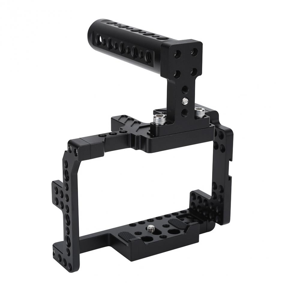 DSLR Video Camera Cage Stabilizer Kit With Top Handle Follow Focus Rods For Sony A7II/A7RII/A7SII yelangu aluminum alloy camera video cage kit film system with video cage top handle grip matte box follow focus for dslr