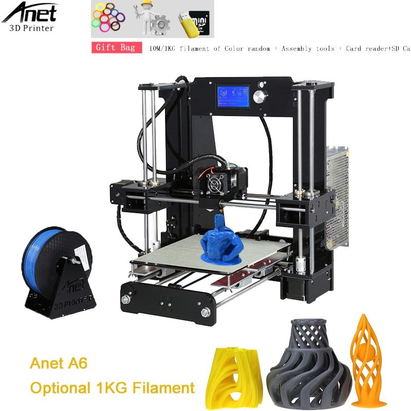 Anet A6 3D Printer High Precision Big Size Desktop 3D Printer Kit Reprap i3 DIY Self Assembly 2004LCD Screen with 8/16GB SD Card