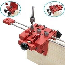 3 in 1 di Lavorazione Del Legno Trapano Pugno Posizionatore Guida Locator Jig Kit Sistema di Falegnameria In Lega di Alluminio Lavorazione del Legno Strumento FAI DA TE