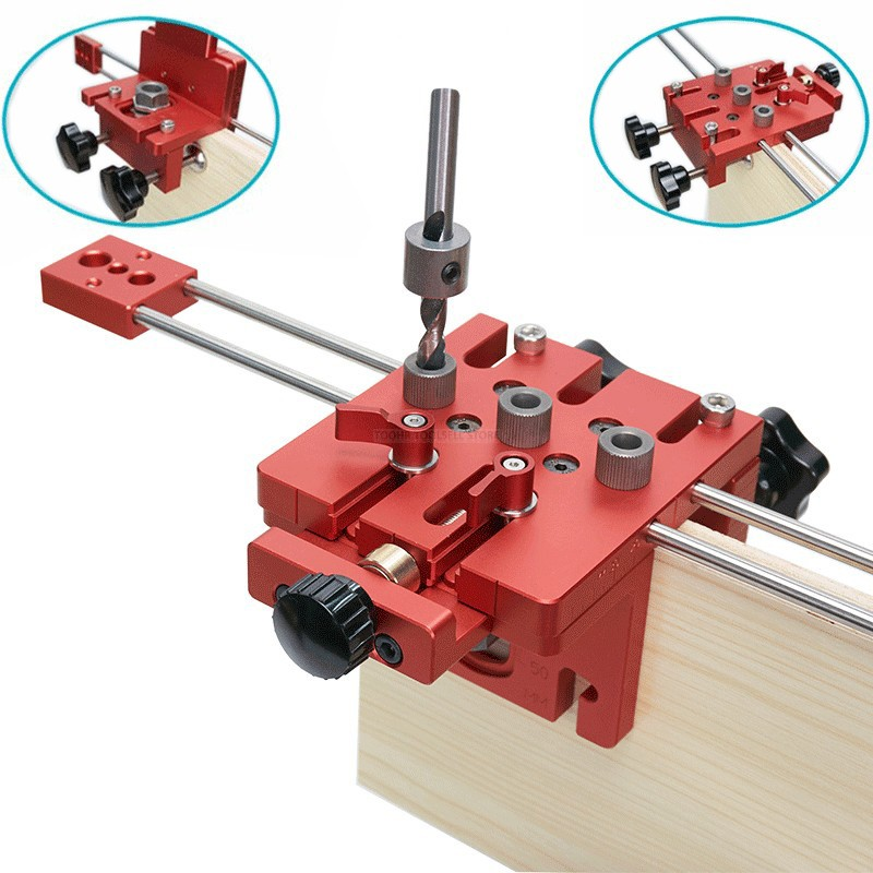 3 in 1 Woodworking Hole Drill Punch Positioner Guide Locator Jig Joinery System Kit Aluminium Alloy Wood Working DIY Tool