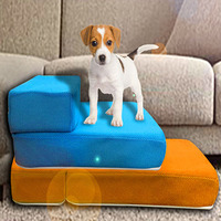 12 Colors Mesh Pet Stairs Removable And Washable Dogs Can Fold 2 Steps Dog Pad Cat