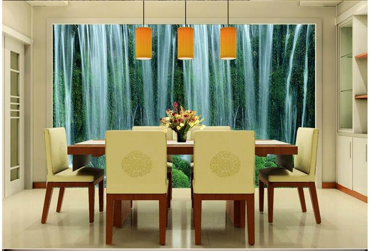 Large Water Making Money Feng Shui Mural Continental Waterfall Landscape Wallpaper The Living Room TV Backdrop