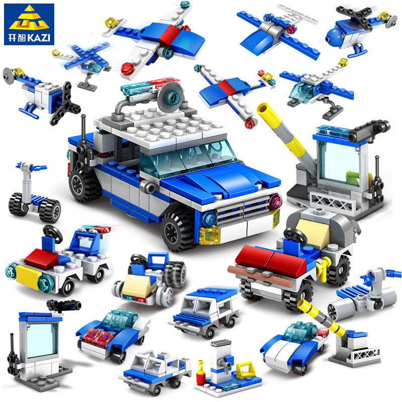 цена на KAZI 305pcs 16IN1 LegoING City Police Helicopter Car Building Blocks Sets Construction Bricks Educational Toys For children