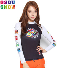 GSOU SNOW Brand Swim Beach Surf Shirts Women Summer Rash Guard Bathing Suit Swimwear Female Quick Dry Long Sleeve Swimsuit Tops(China)