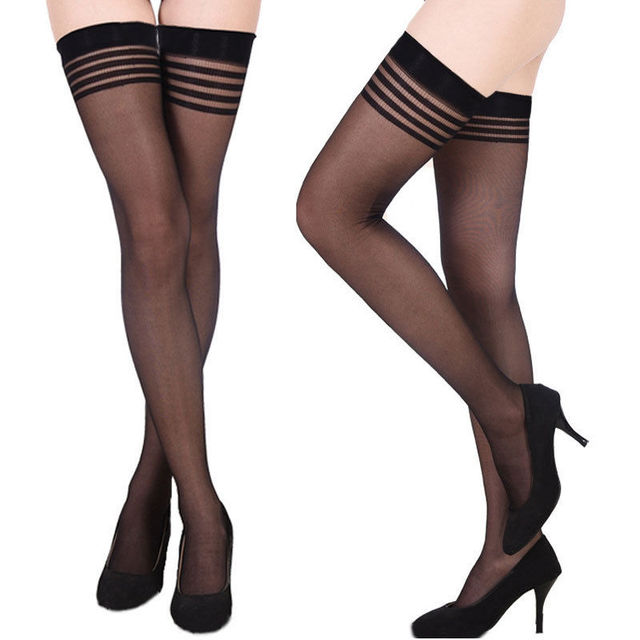 f24661cfe98 New Womens Ladies Ultrathin Sheer Lace Top Thigh High Solid Black Stockings  Hold Up