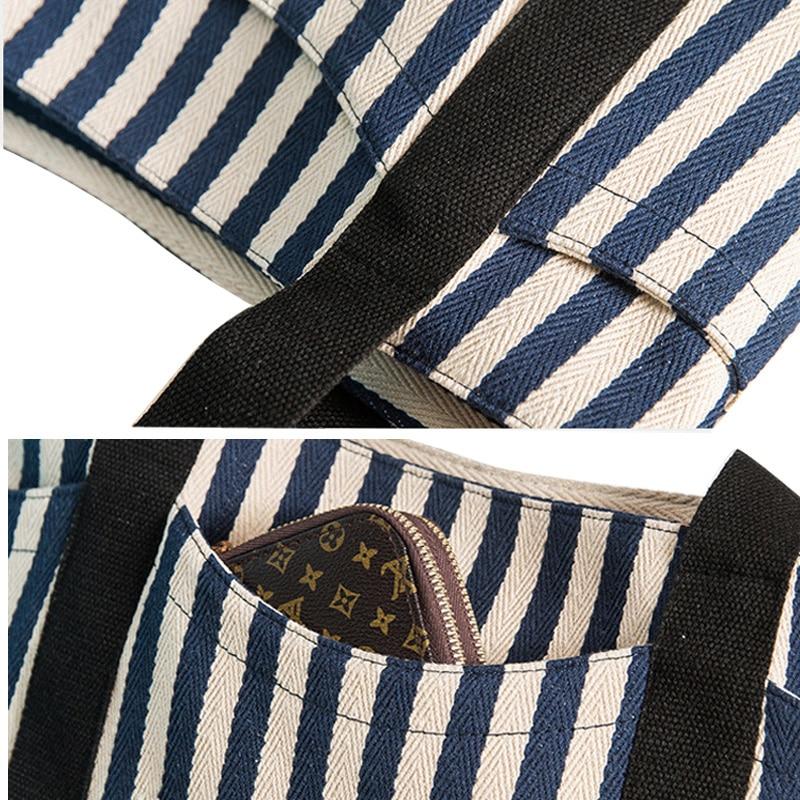 Cerniera Il Femminili Strisce Spalla Funzione Nero Duplice Filo Tela Europeo Stile Lady Donne A Sacchetto Casual blu Notte Totes Borse blu Borsa Di Americano TW7xnUcHW