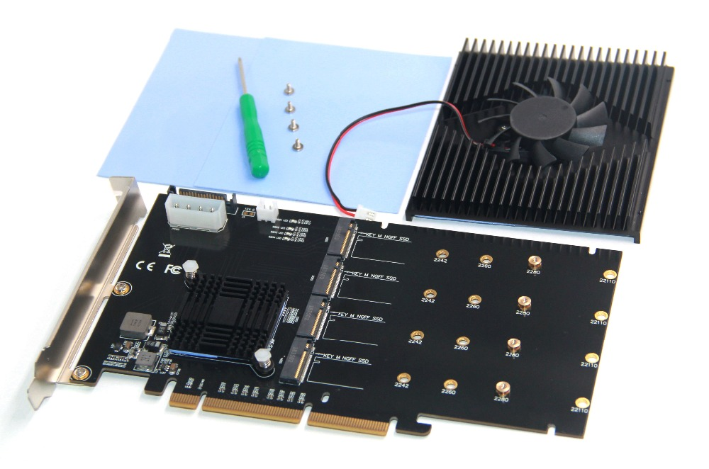 Nouveau l'adaptateur carte PCI-E 16X à 4P NVMe SSD prend en charge RAIDO, PCI-E 16X à 4 pièces M.2 (protocole PCIe)