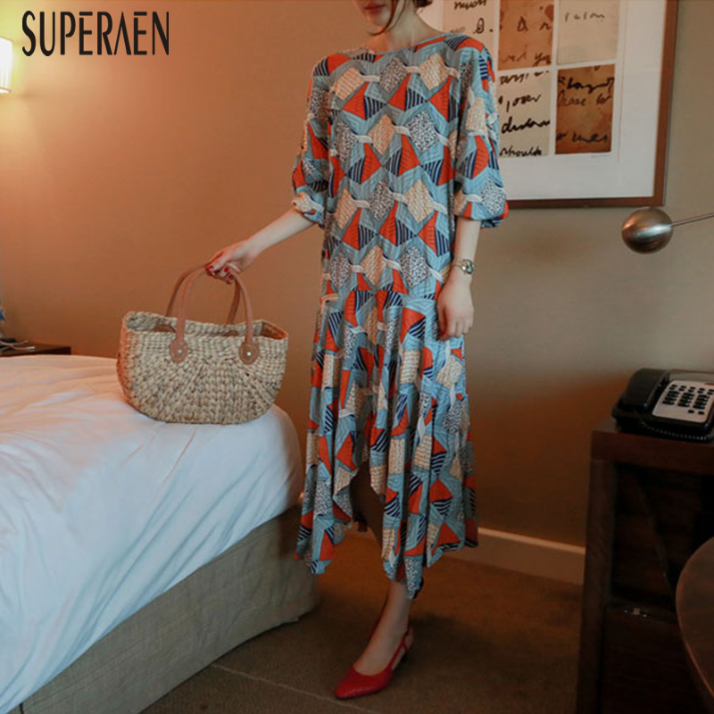 SuperAen 2019 Spring and Summer New Korean Style Women s Dress Cotton Casual Ladies Dress Printed
