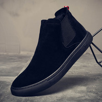 2019 New Winter Men Suede Leather Chelsea Boots No Slip All Match Black Ankle Boots Shoes Rubber Sole Casual Men S