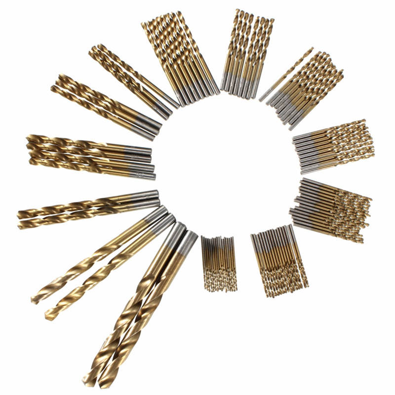 98pcs/set 1.5mm-10mm Titanium Coated Drill Bit Set Tool HSS High Speed Steel For for woo d, Plastic and Aluminum Copper 6pcs set high speed steel twist drill bit titanium coated hss drill