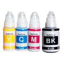 Compatível GI-490 bk tinta gi490 c m y tinta tintura reenchimento kit para canon pixma g1400 g2400 g3400 g1000 g2000 g3000 impressora do tanque de tinta