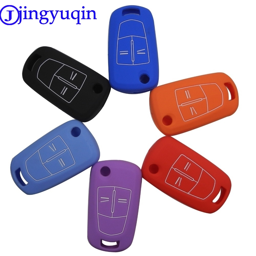 jingyuqin Remote 2/3 Buttons Silicone Flip Folding Car Key Shell Key Cover Case Case for Vauxhall Opel Corsa Astra Vectra Signum xinyuexin car key case cover silicone for hyundai elantra solaris 2016 2017 2018 3 buttons folding remote key shell