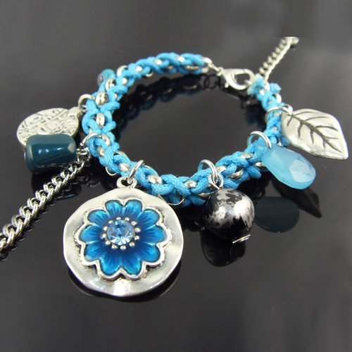 Fashion women bracelets jewelry blue and red rope chain with flower charms Bracelets , BR-425