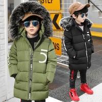 Casual Kinderen Bovenkleding Jongetje Parka Winter Jassen Kid Overjas Warm Hooded Bontkraag 5 Woorden Katoen gewatteerde kleding