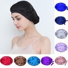 المرأة الحرير الخالص النوم القبعات التفاف قبعة الليل العناية بالشعر بونيه