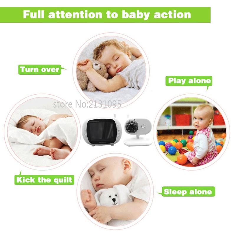 2016 New baba electronics sem fio 3.5inch IR Nightvision Intercom Lullabies Temperature Monitor bateria eletronica doppler fetal (6)
