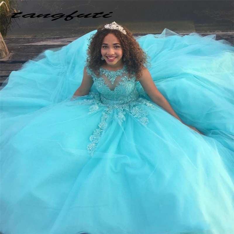 Weddings & Events Unparteiisch Licht Blau Ballkleid Prinzessin Quinceanera Kleider Appliques Cap Ärmel Geschwollene Tüll Prom Kleid Vestidos De 15 Anos Perfekte Verarbeitung