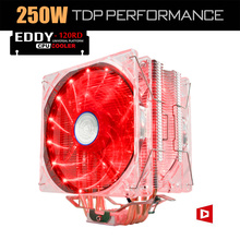 ALSEYE EDDY-120R cpu cooler 4 heatpipes TDP 220W 2 PWM LED 4pin 120mm fan with aluminum heatsink radiator for lga 775/115x/AM2/3