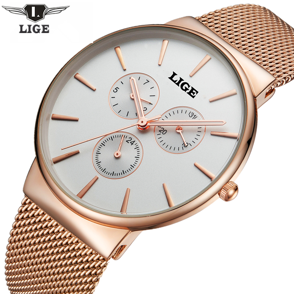 LIGE New Top Luxury Watch Men Brand Men's Watches Ultra Thin Stainless Steel Mesh Band Quartz Wristwatch Fashion Casual Watches badace new top luxury watch men gold men s watches ultra thin stainless steel mesh band quartz wristwatch business casual watch