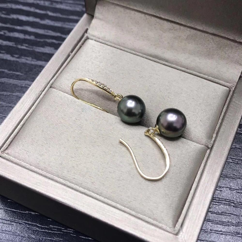 stunning pair of 10-11 Tahitian round black green pearl dangle earring 18stunning pair of 10-11 Tahitian round black green pearl dangle earring 18