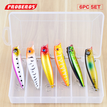 1box Hot 6pc/lot Fishing Lure 6color Popper Lure 9.5cm/11.7g Fishing bait top fishing tackle With Retail Package Box DW-ST41