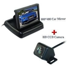 """4 ИК свет заднего вида автомобиля Камера + 4.3 """"TFT ЖК-дисплей Мониторы для заднего Резервное копирование HD CCD 170 Угол объектива заднего вида автопарк Камера"""