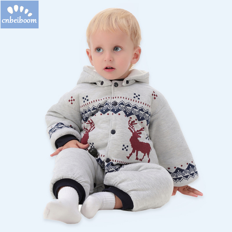 2018 New Baby Rompers Winter Thick Warm infant boy Clothing Long Sleeve romper Hooded Jumpsuit Kids Newborn Outwear for 0-12M