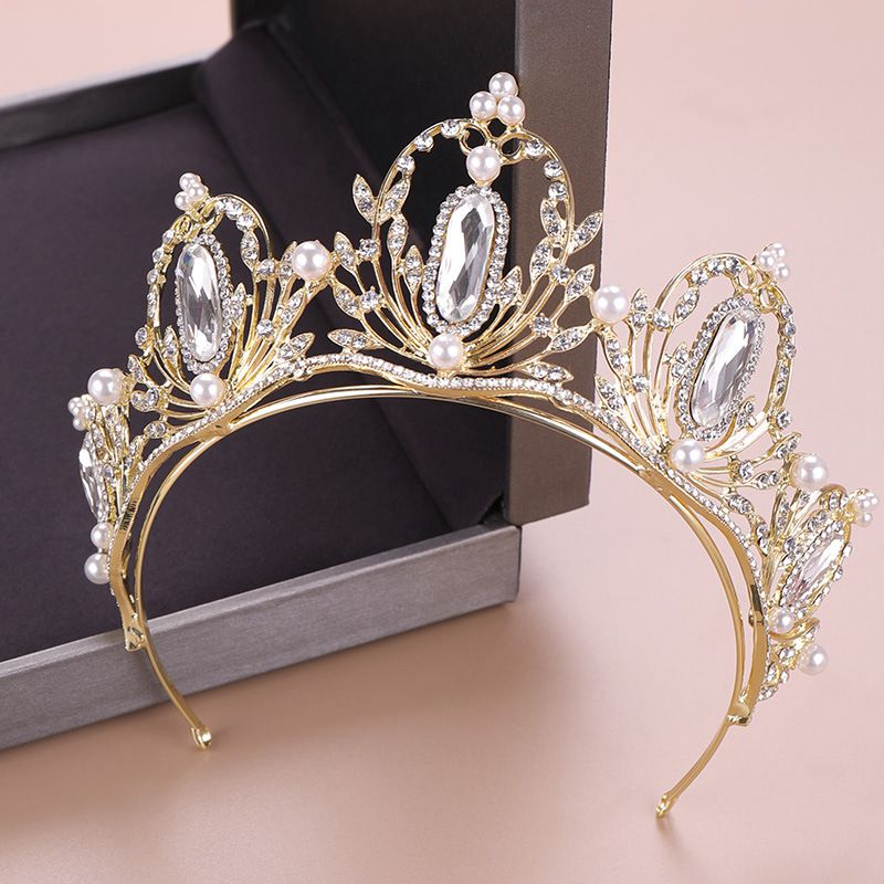 Princess Crown Headband Bride Hair Jewellery Pearl Crystal Headdress Wedding Hair Jewelry For Sale Decoration Tiaras Noiva HG304 in Hair Jewelry from Jewelry Accessories