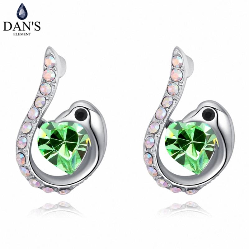 DANS 5 Colors Real Austrian crystals Stud earrings for women Earrings s New Sale Hot Round 129570