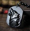 Envío de la gota Negro Obsidiana Talla Cabeza del Lobo Amuleto colgante de collar libre Bendición Lucky obsidiana colgantes Joyería de moda
