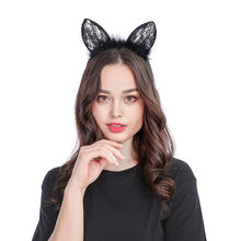 Sexy Black Cat Ears Headband Party Holiday Party Hoop Hair Bands For Women New Year Cute simple sexy hair band #LRWS(China)