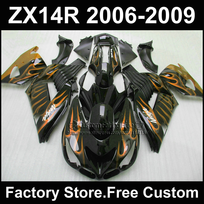 7gifts Motorcycle Injection fairing kit for Kawasaki 2006 2007 2008 2009 ZX 14R Ninja ZX14R 06-09 yellow flame ABS fairings kits aftermarket free shipping motorcycle parts for motorcycle 2006 2007 2008 2009 kawasaki zx14 zx14r zx 14r axle caps covers chrome