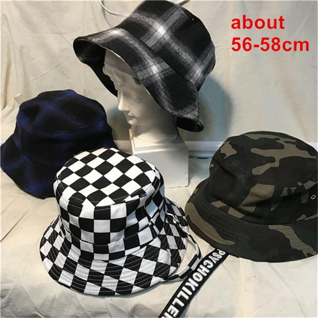 c89f579e3b1a40 IG Hot Checker Bucket Hat Black White Plaid Unisex Cap Women Men Aesthetic  Harajuku Street Style