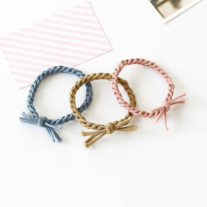 Braided Black Blue Three-color Elastic Hair Bands Ponytail Holders Headwear Hair Accessories for Women