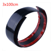 1M*3CM Rubber Gloss Black Universal Car Front Bumper Lip Splitter Spoiler Trim Strip Protector