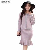 Autumn Winter 2017 Office Ladies Elegant Knit Cardigan Step Skirt 2pcs Suits Slim Striped Sweater Tops