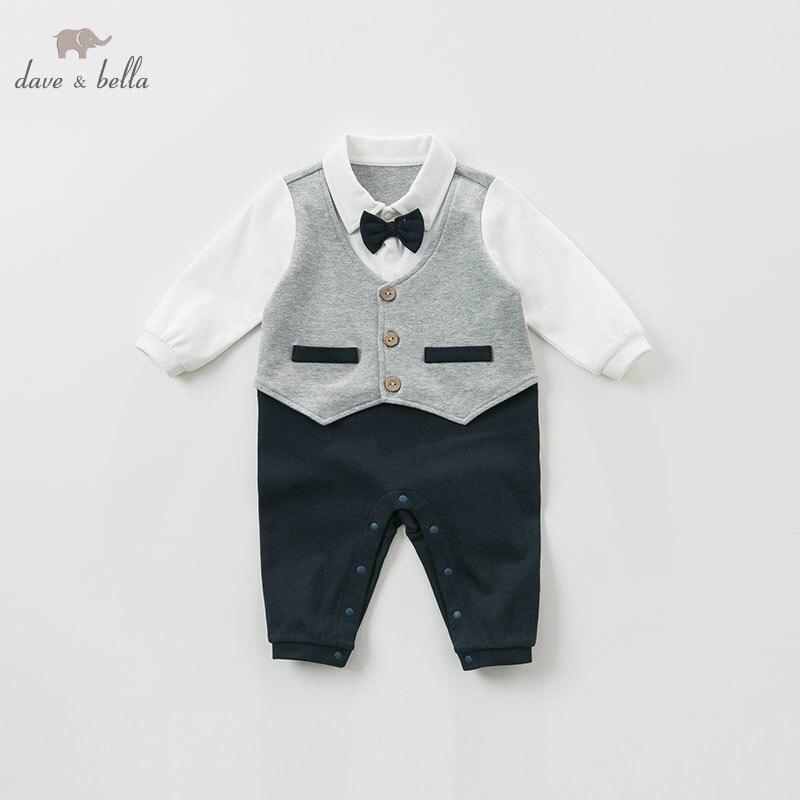 DB10757 dave bella printemps nouveau-né bébé barboteuse infantile bambin garçons 100% coton onesie enfants combinaison petits messieurs porter