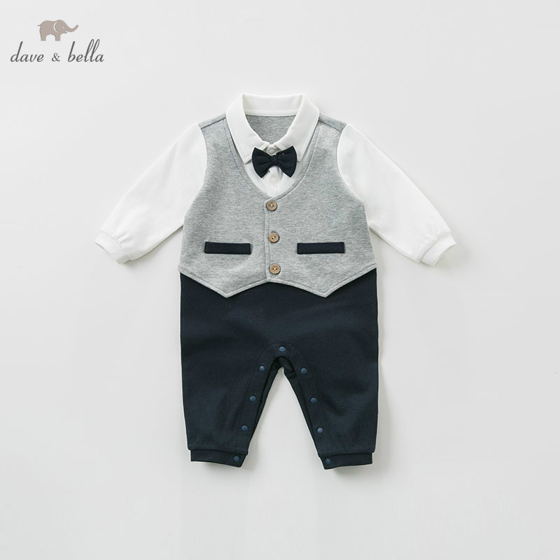 DB10757 dave bella spring newborn baby romper infant toddler boys 100% cotton onesie children jumpsuit little gentlemen wear