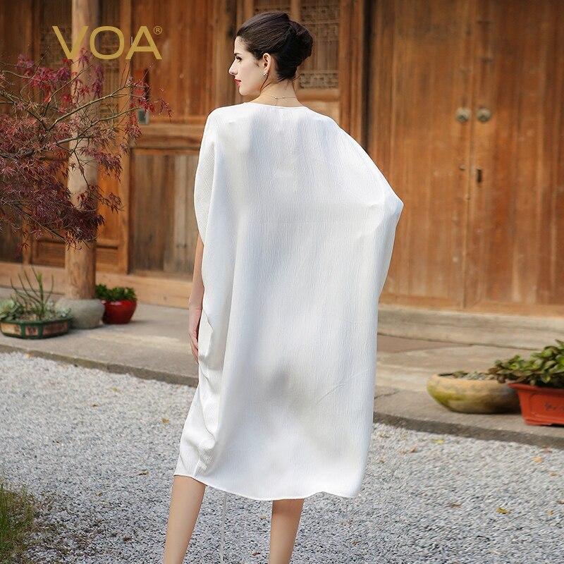 Image 2 - VOA Silk Plus Size Loose Embroidery Casual Dress Women Short  Sleeve Cloak Sleeve White Fake Two Set Belt Muslim Robe Fall  A7520muslim robecasual dress womencasual dress