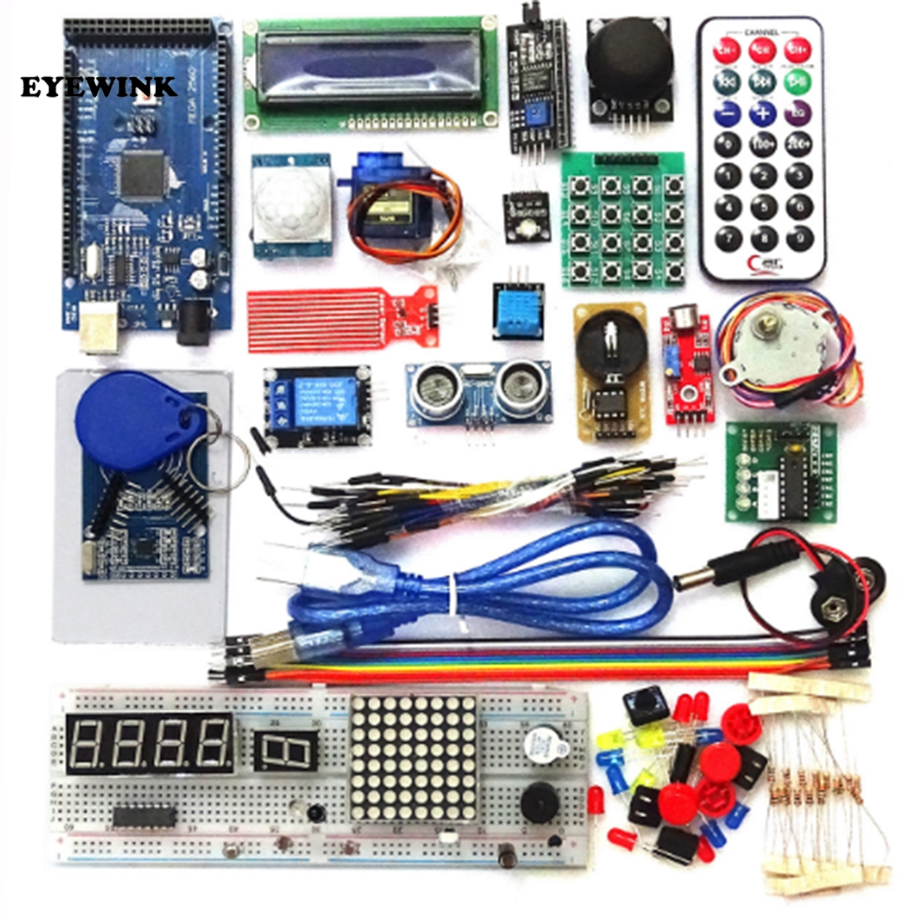 1set Upgraded Advanced Version Mega 2560 R3 Starter Kit The RFID Learn Suite Kit LCD 1602 For Arduino