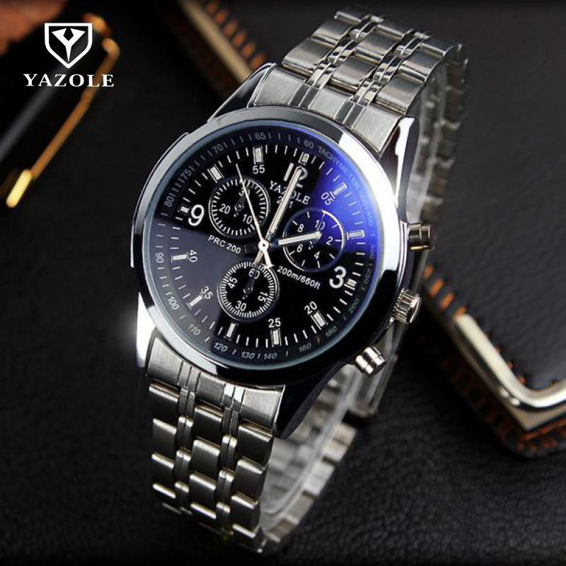 YAZOLE Full Steel White Black Blue Ray Dial Luminous Hands Business Dress Sports Wrist watch 30m Waterproof Watches for Men Male 100% original yazole luxury blue ray shockproof genuine leather round dial dress quartz wristwatch watch for men male no 332