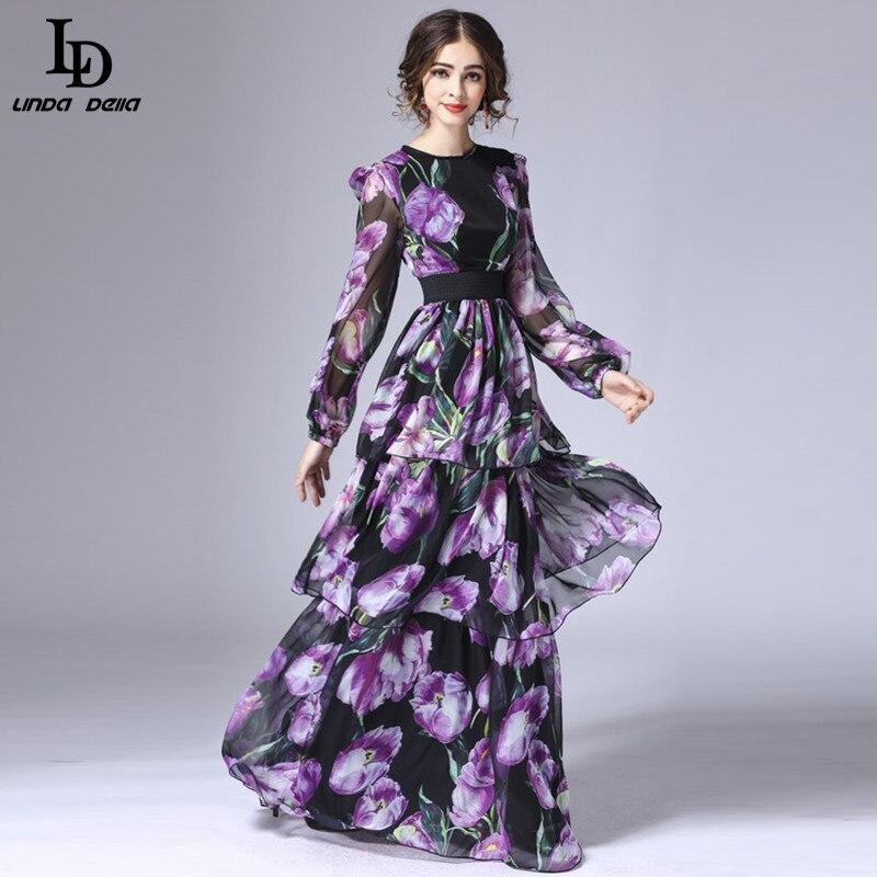 LD LINDA DELLA printemps nouvelle mode piste Maxi robe femmes à manches longues Vintage à niveaux tulipe Floral imprimé longue robe - 2