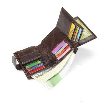 الرجال خمر محافظ جلد طبيعي عملة محفظة الذكور البقر العمودي trifold القهوة/أسود محفظة بطاقة حامل حقيبة # m9050