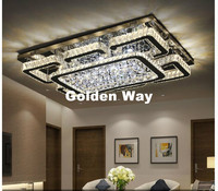 Free Shipping Stainless Steel Modern Ceiling Lamps K9 Crystals LED Square Crystal Ceiling Lights For Dining