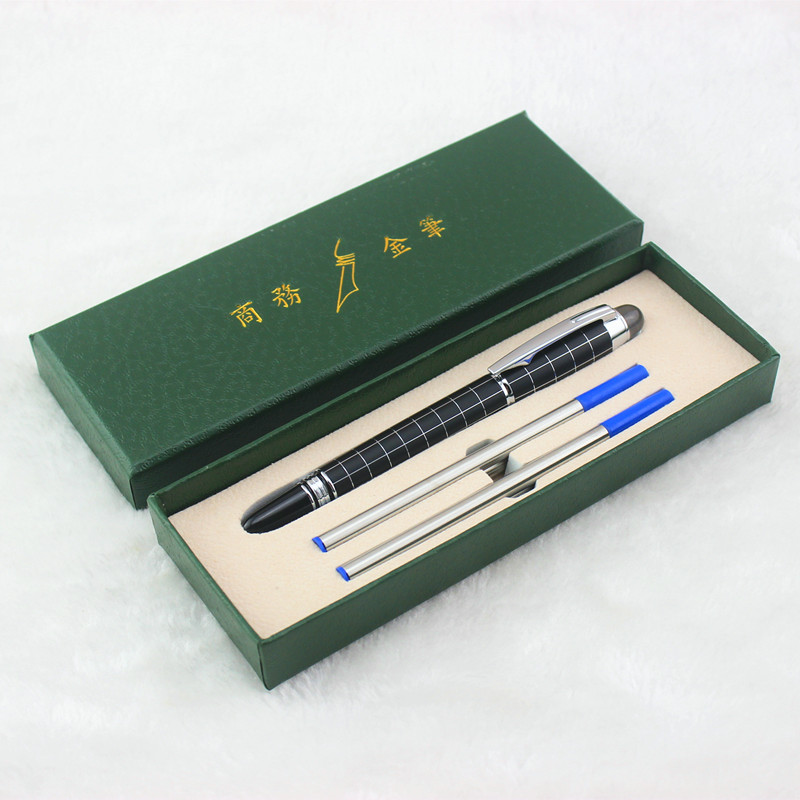 Luxury Gift Set Diamond Star Top Black lattice Roller Ball Pen Stationery Office Business Luxury Brand Writing Gift Ball Pens jinhao rare golden double dragon pattern roller ball pen luxury stationery school office supplies brand writing gift pens