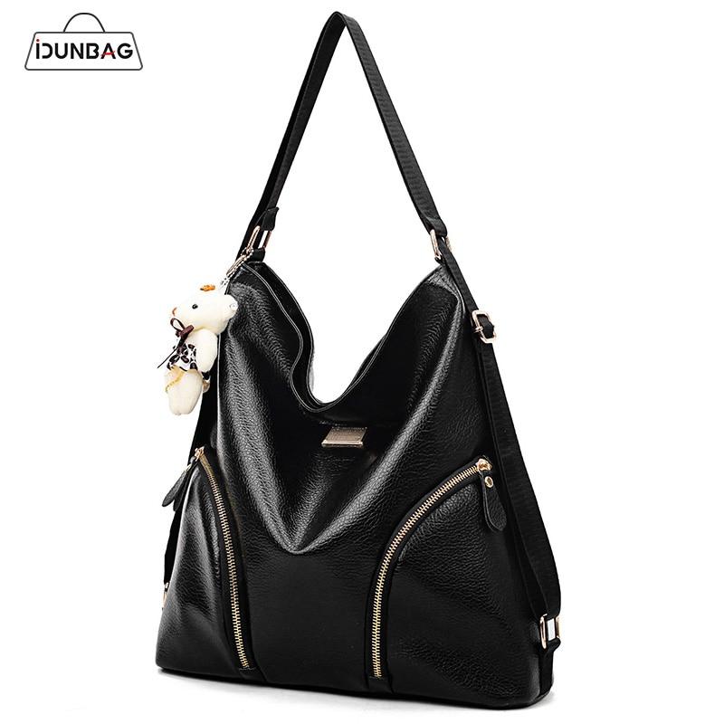 Bear Bag Women Large Capacity Hobo Bags Double Shoulder Bags Women Pu Leather Handbags Sac a Main Femme De Marque Luxe Cuir 2018