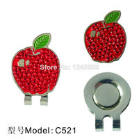 Free Shipping 2 pcs/lot Apple Golf Ball Markers with Hat Clip, Golf Accessories, Wholesale Price.